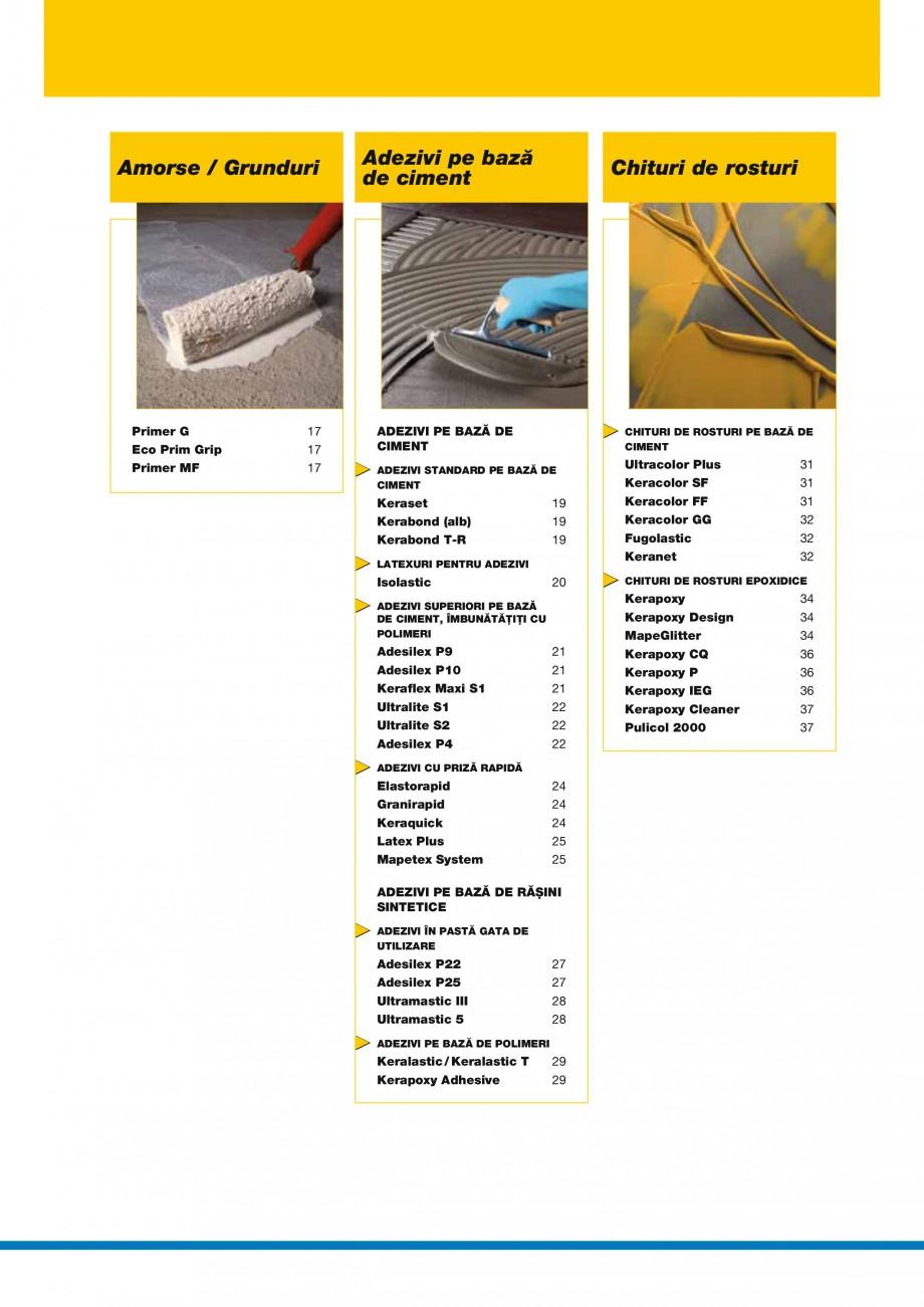 Pagina 4 - Produse pentru montarea placilor ceramice si a placilor din piatra naturala MAPEI Catalog...