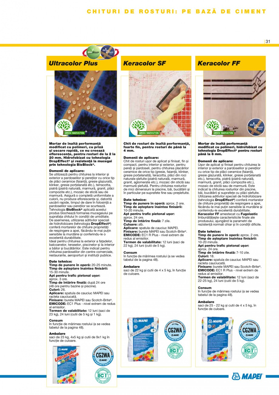 Pagina 33 - Produse pentru montarea placilor ceramice si a placilor din piatra naturala MAPEI...