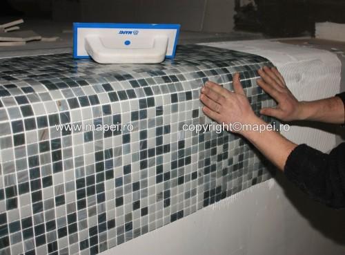 Executie, montaj 4. Placare montaj mozaic pe Keralastic T MAPEI - Poza 4