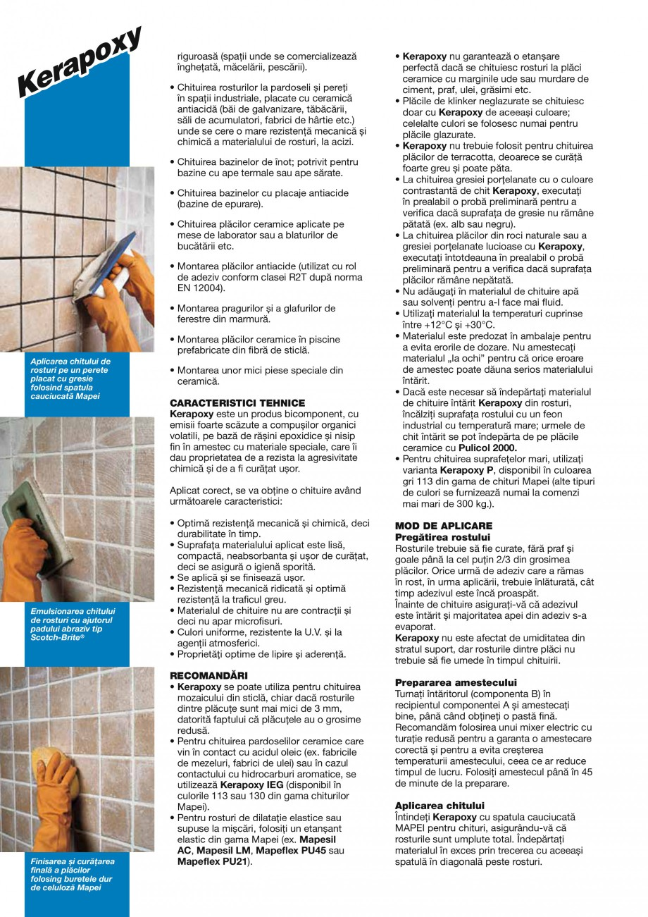 Pagina 2 - Mortar epoxidic bicomponent, rezistent la acizi, pentru rosturi cu latime de minim 3mm,...