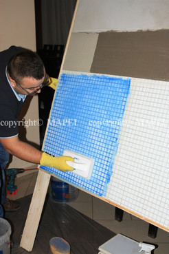 Exemple de utilizare 19. finisarea chitului de rosturi cu pad abraziv Mapei si apa MAPEI - Poza 19