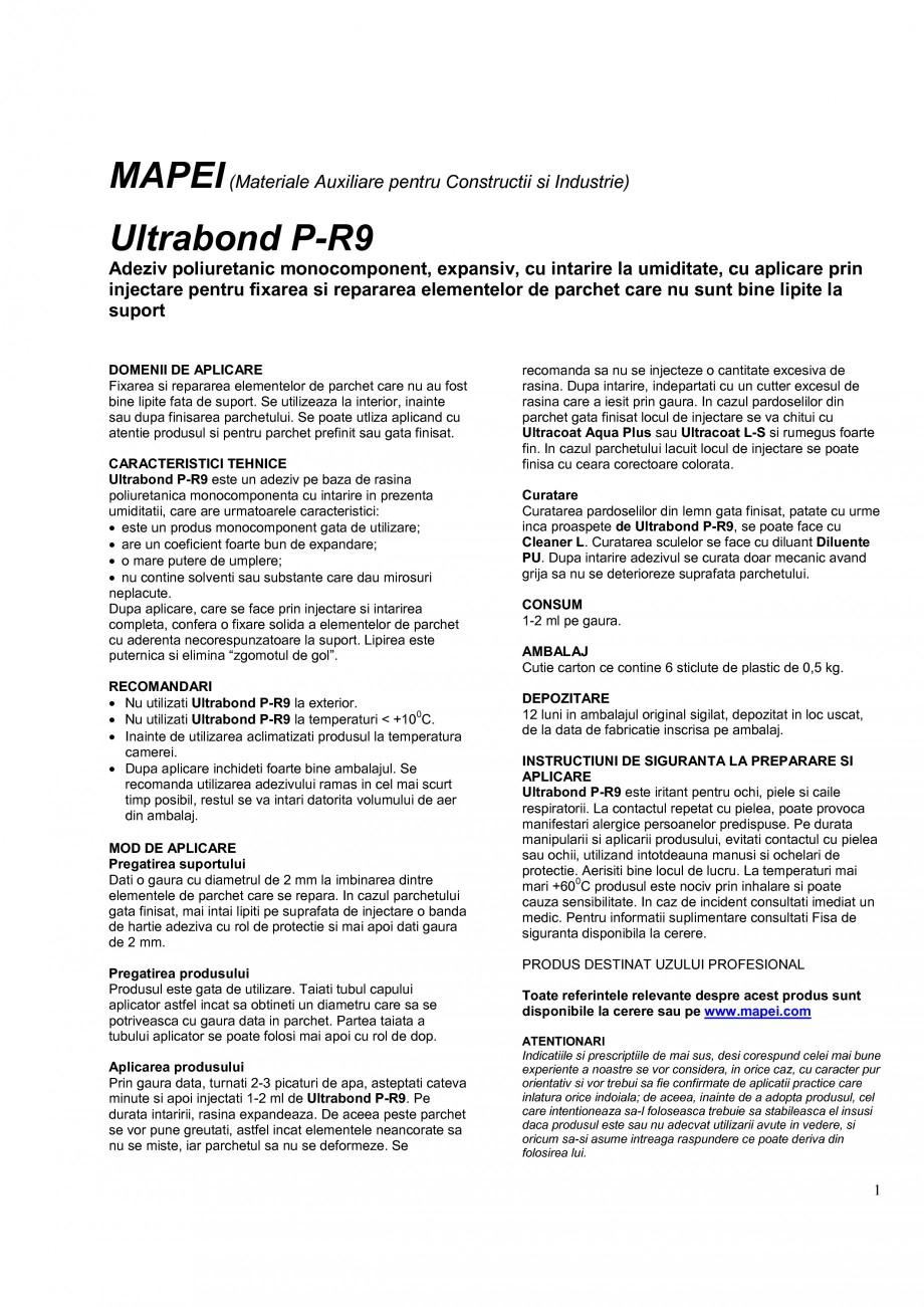 Pagina 1 - Adeziv expansiv pe baza de rasina poliuretanica monocomponenta MAPEI ULTRABOND P-R9 Fisa ...