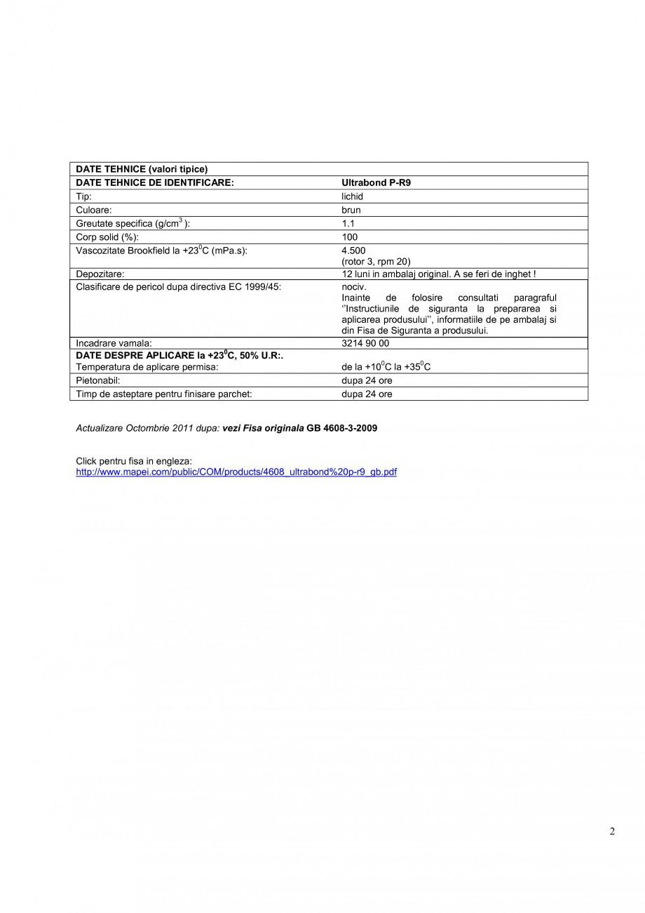 Pagina 2 - Adeziv expansiv pe baza de rasina poliuretanica monocomponenta MAPEI ULTRABOND P-R9 Fisa ...