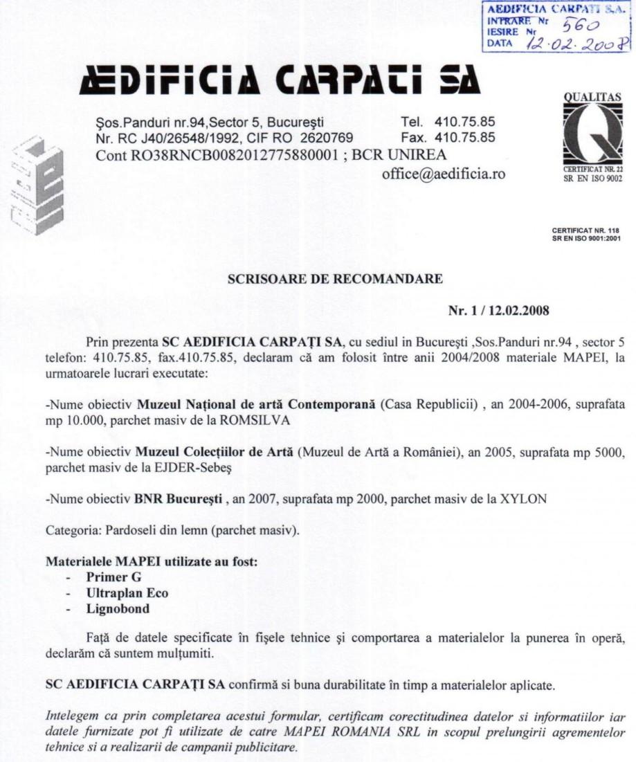 Pagina 1 - Referinte Mapei Romania 2004 - Aedificia Carpati MAPEI Lucrari, proiecte Romana
