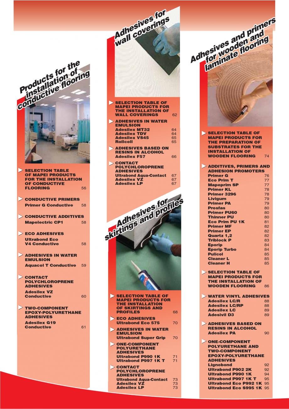Pagina 4 - Produse pentru montarea imbracamintilor vinilice, textile si cauciuc pentru pereti si...