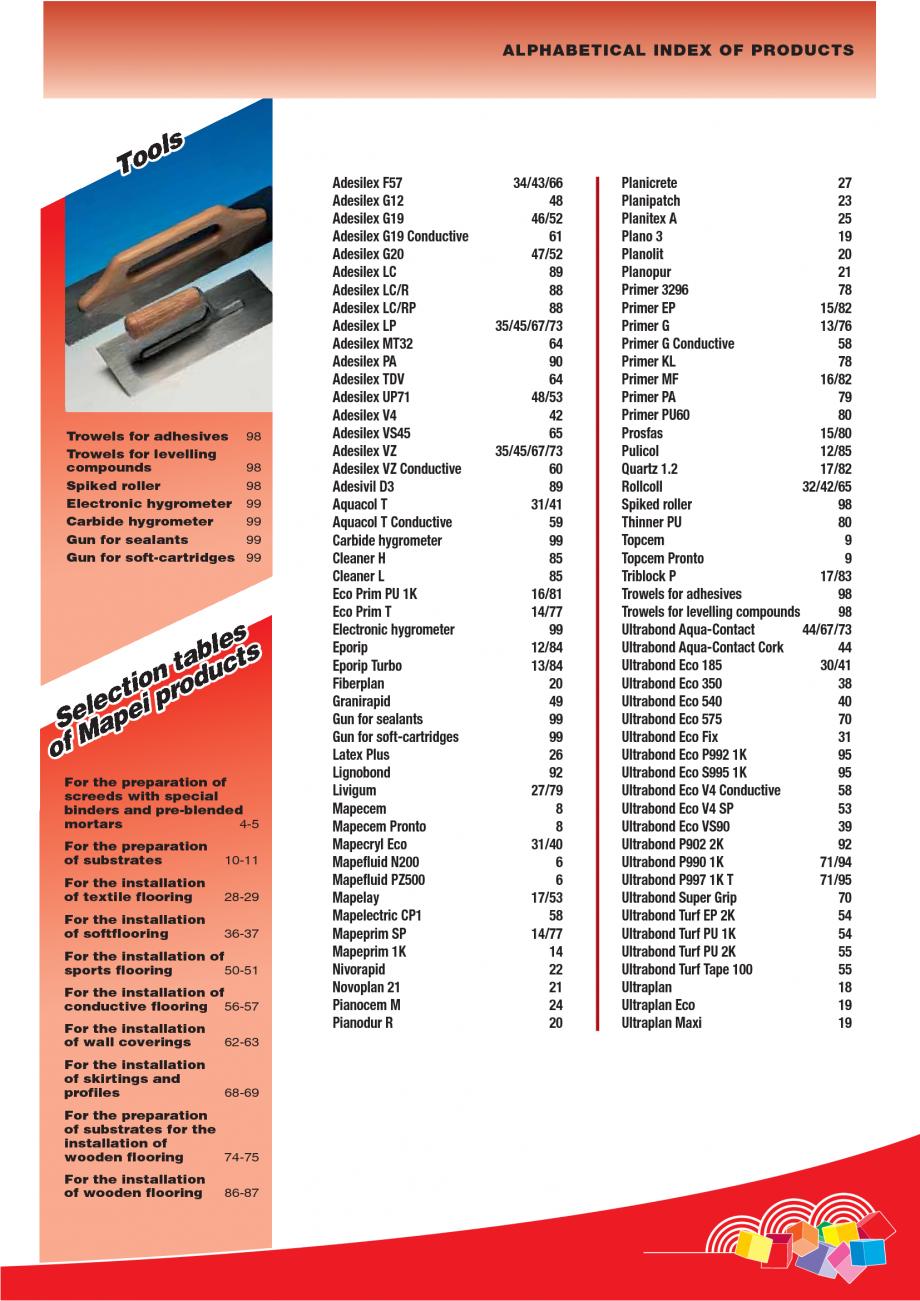 Pagina 5 - Produse pentru montarea imbracamintilor vinilice, textile si cauciuc pentru pereti si...