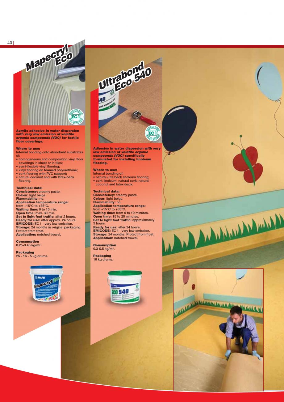 Pagina 42 - Produse pentru montarea imbracamintilor vinilice, textile si cauciuc pentru pereti si...