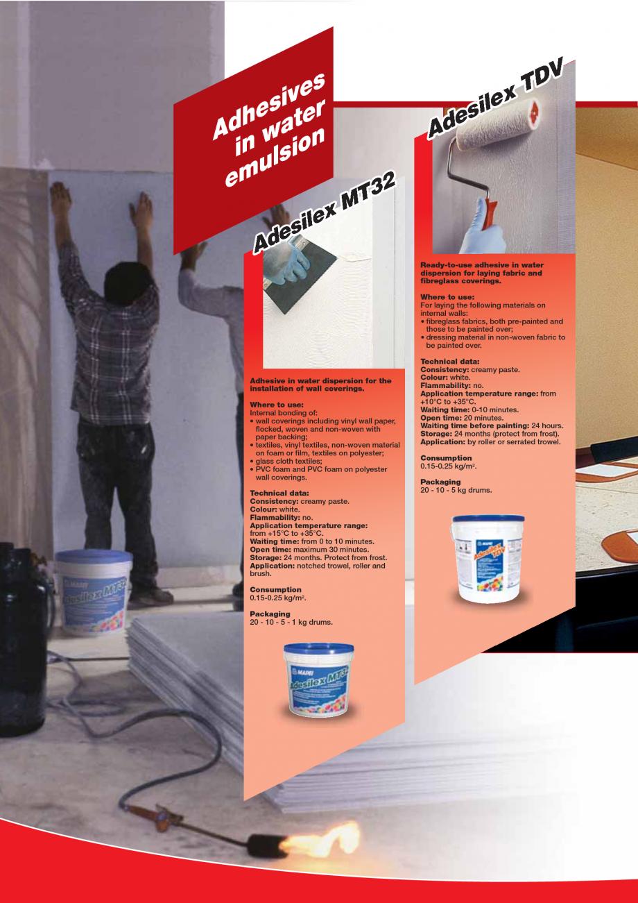Pagina 66 - Produse pentru montarea imbracamintilor vinilice, textile si cauciuc pentru pereti si...