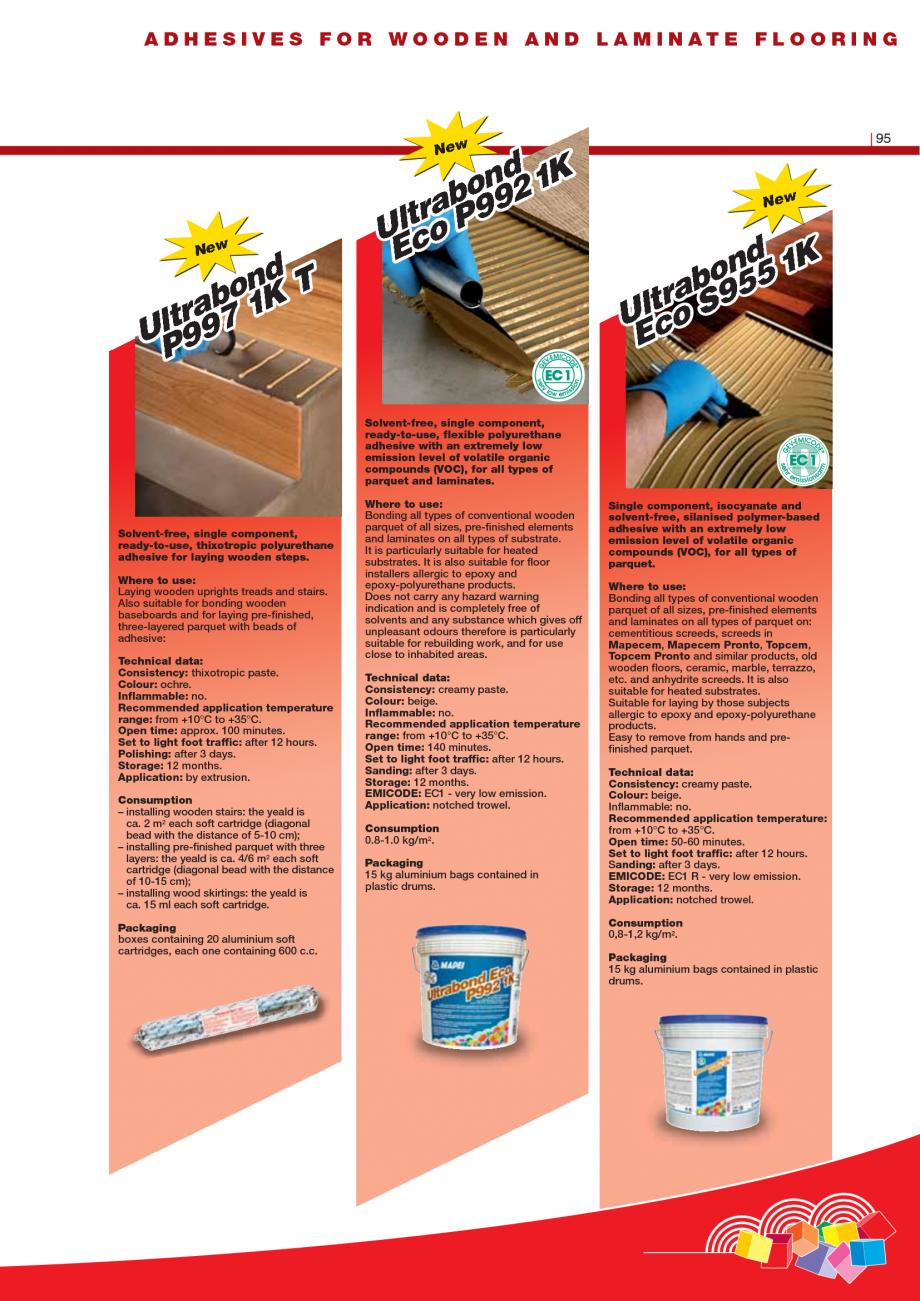 Pagina 97 - Produse pentru montarea imbracamintilor vinilice, textile si cauciuc pentru pereti si...