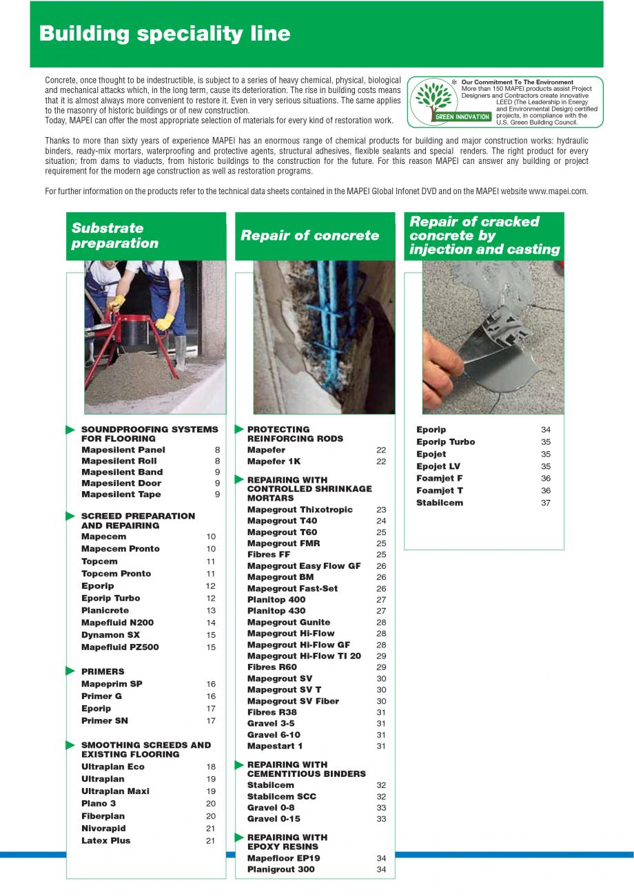 Pagina 2 - Catalog mortare, materiale speciale MAPEI Catalog, brosura Engleza rs and Contractors...