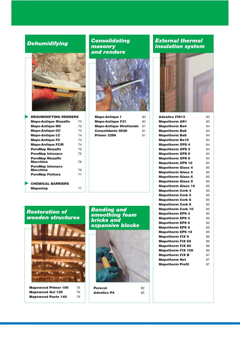 Pagina 4 - Catalog mortare, materiale speciale MAPEI Catalog, brosura Engleza  3 20 Fiberplan 20...