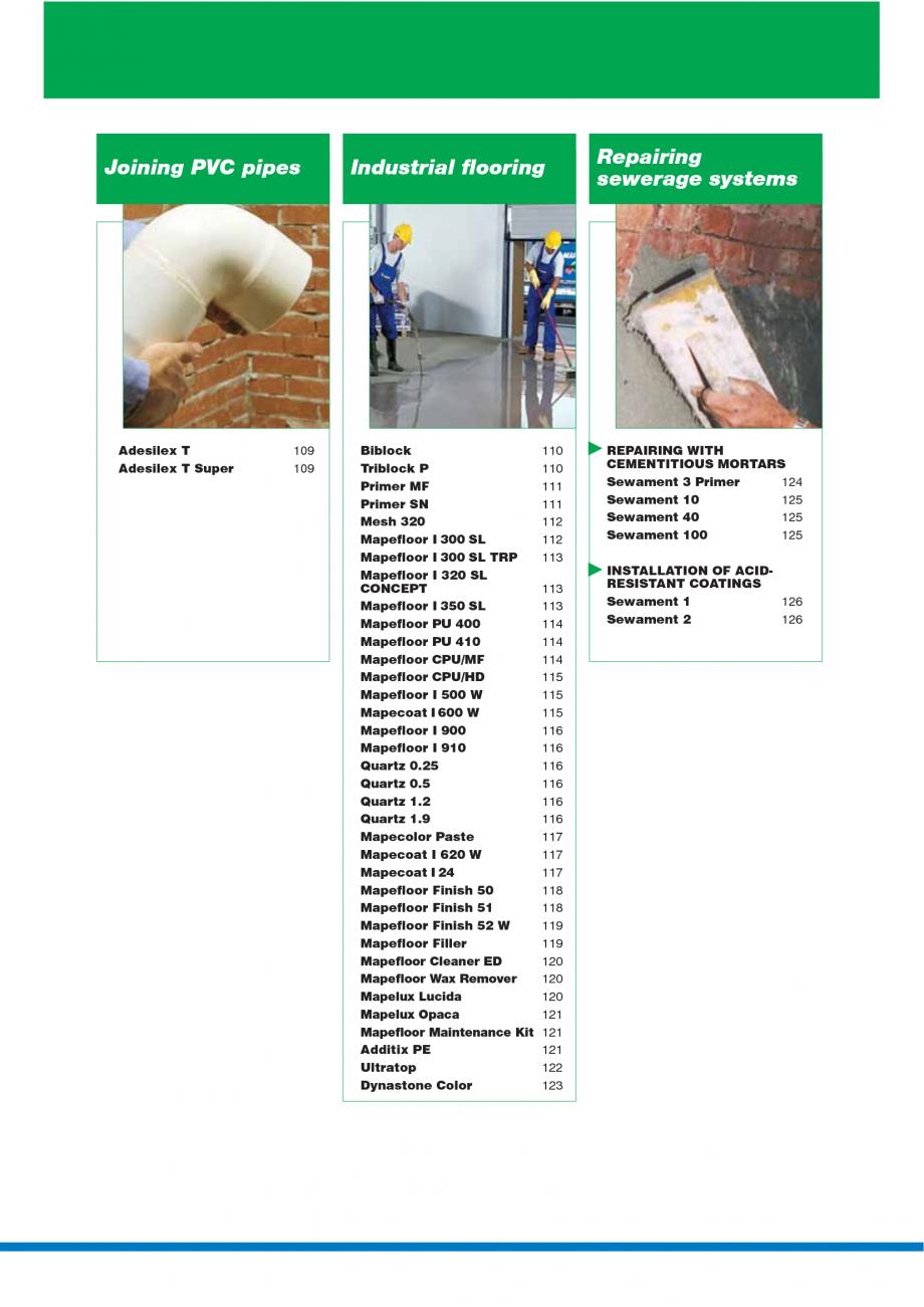 Pagina 6 - Catalog mortare, materiale speciale MAPEI Catalog, brosura Engleza idifying ...