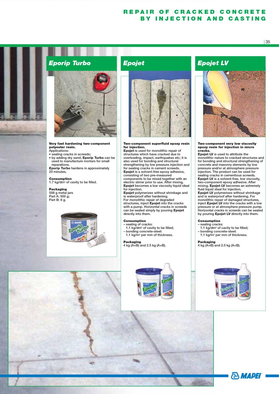 Pagina 37 - Catalog mortare, materiale speciale MAPEI Catalog, brosura Engleza   C40-F10 2 ...