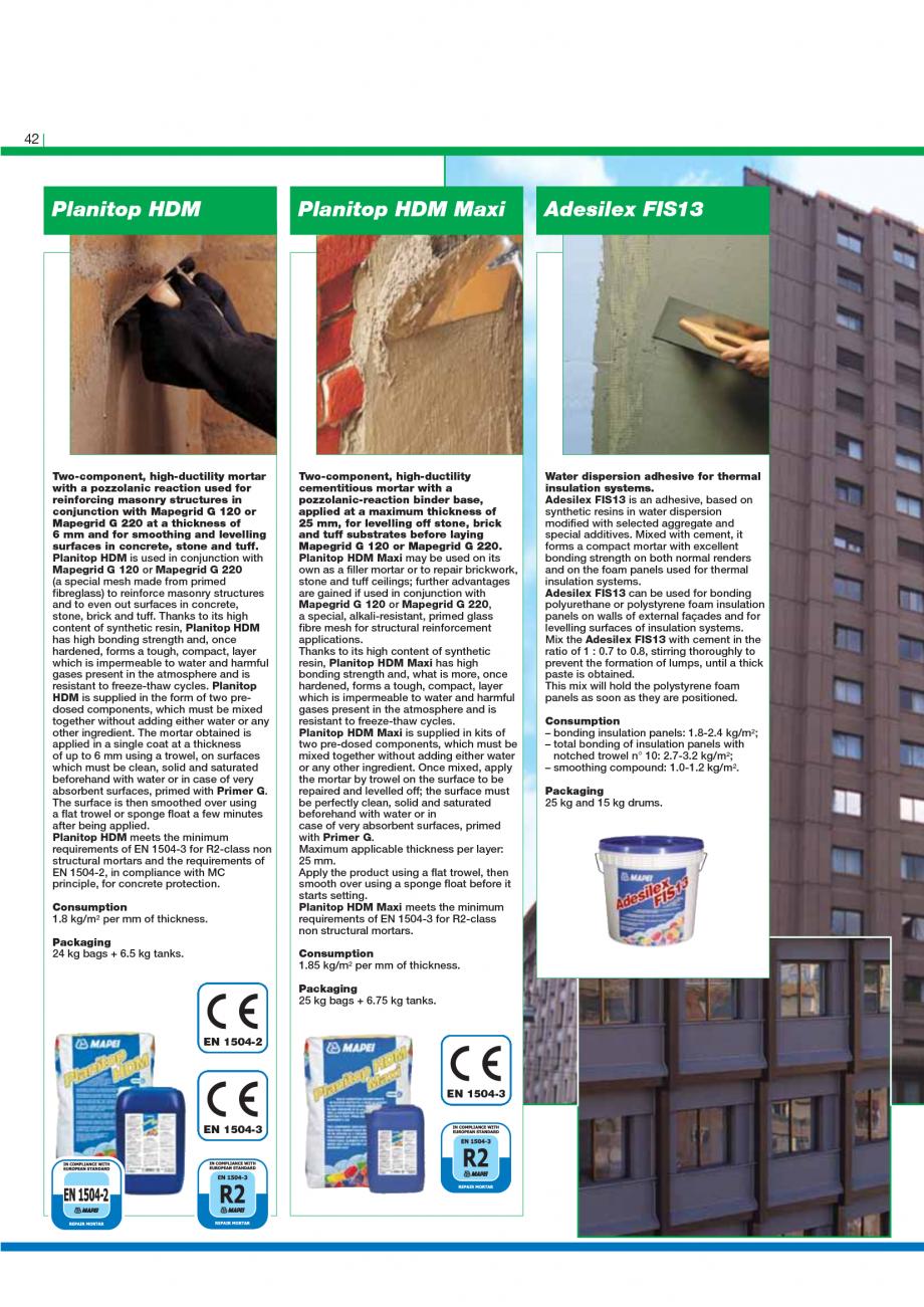 Pagina 44 - Catalog mortare, materiale speciale MAPEI Catalog, brosura Engleza  water, in a maximum ...