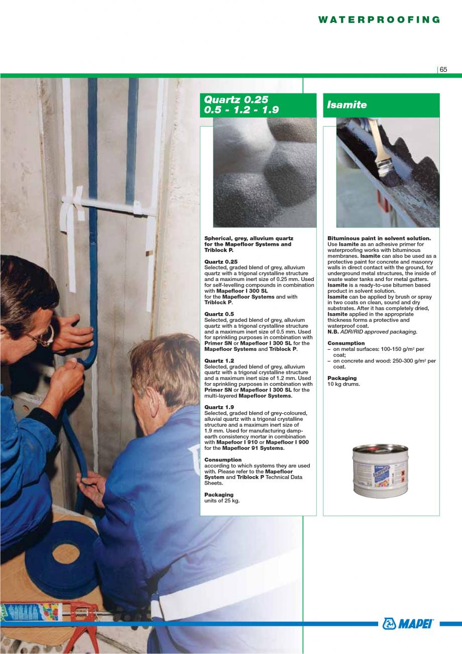 Pagina 67 - Catalog mortare, materiale speciale MAPEI Catalog, brosura Engleza ation to the dosage...