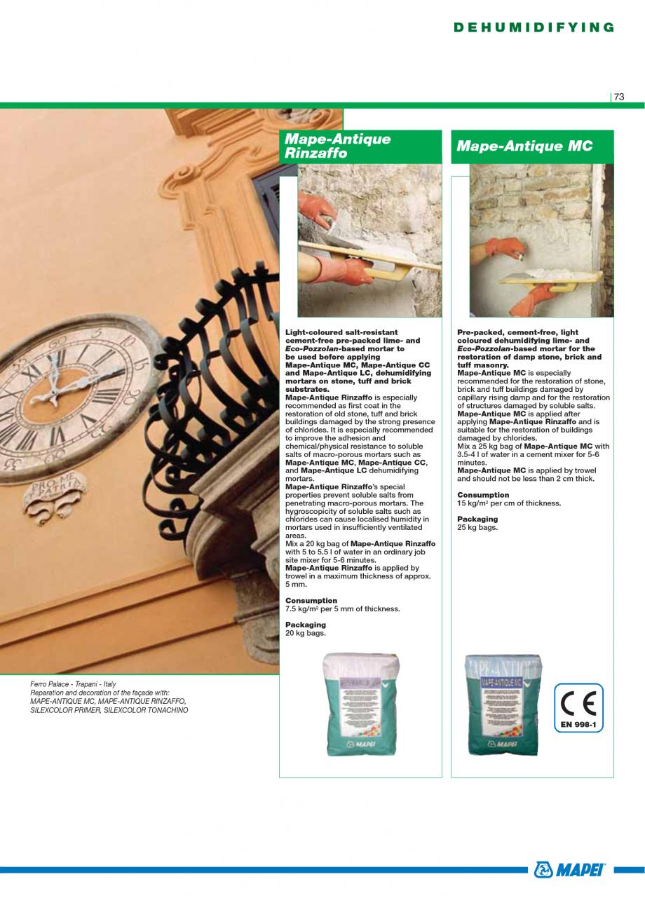 Pagina 75 - Catalog mortare, materiale speciale MAPEI Catalog, brosura Engleza  filled; in the...