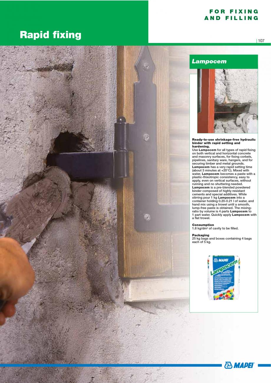 Pagina 109 - Catalog mortare, materiale speciale MAPEI Catalog, brosura Engleza G1 can also be used ...