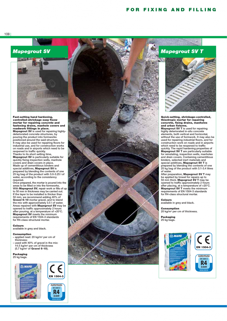 Pagina 110 - Catalog mortare, materiale speciale MAPEI Catalog, brosura Engleza r repairing the...