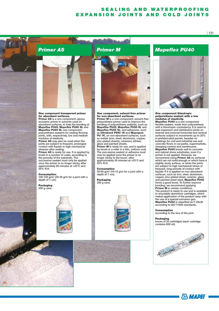 Pagina 133 - Catalog mortare, materiale speciale MAPEI Catalog, brosura Engleza  to 2 mm thick in a ...