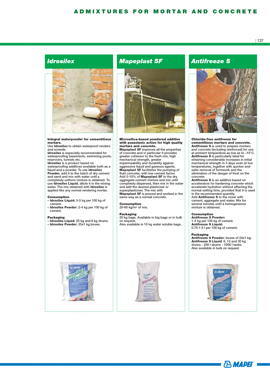 Pagina 139 - Catalog mortare, materiale speciale MAPEI Catalog, brosura Engleza sistant to water is ...