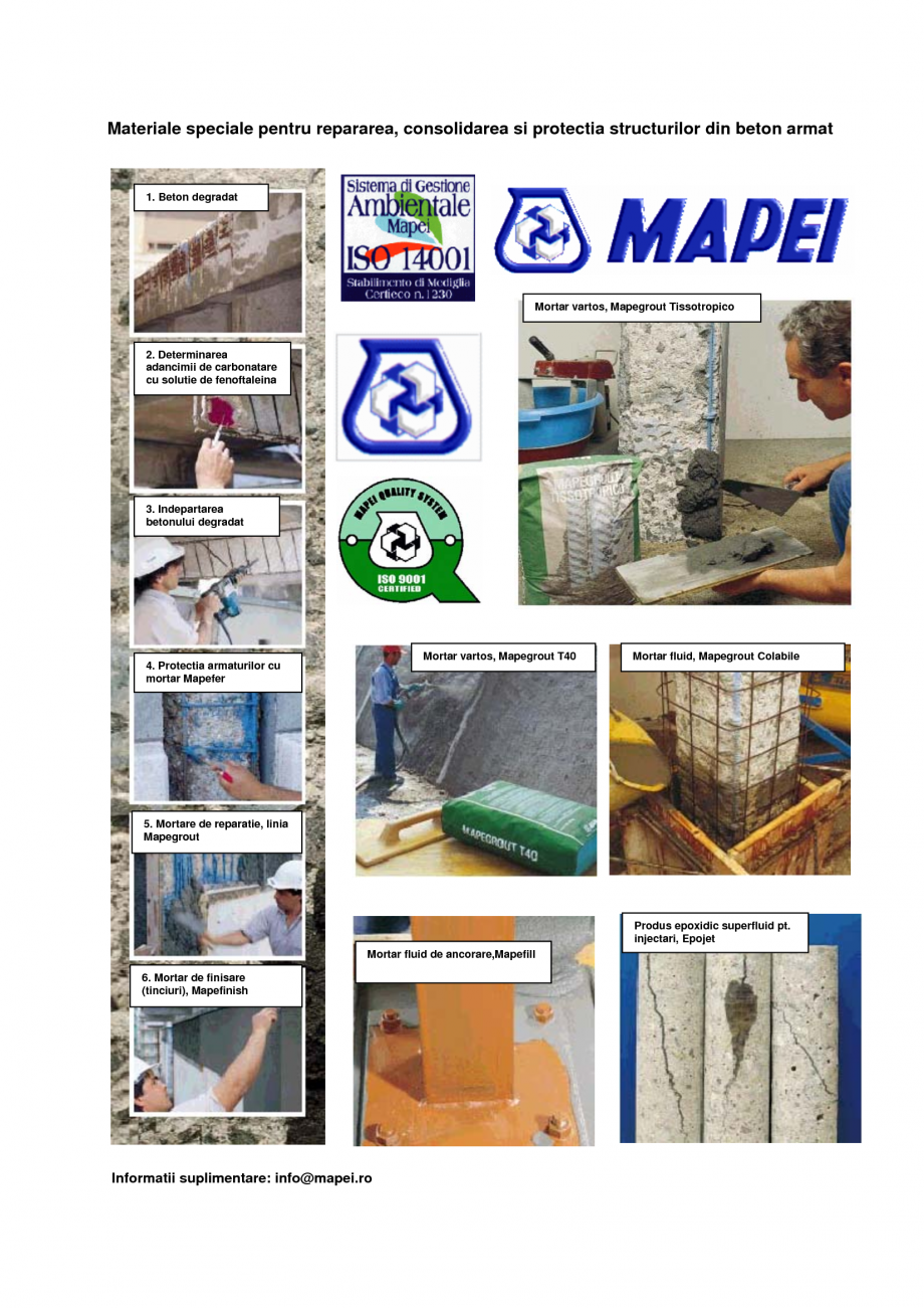 Lucrari proiecte materiale speciale pentru repararea for Mapei epojet