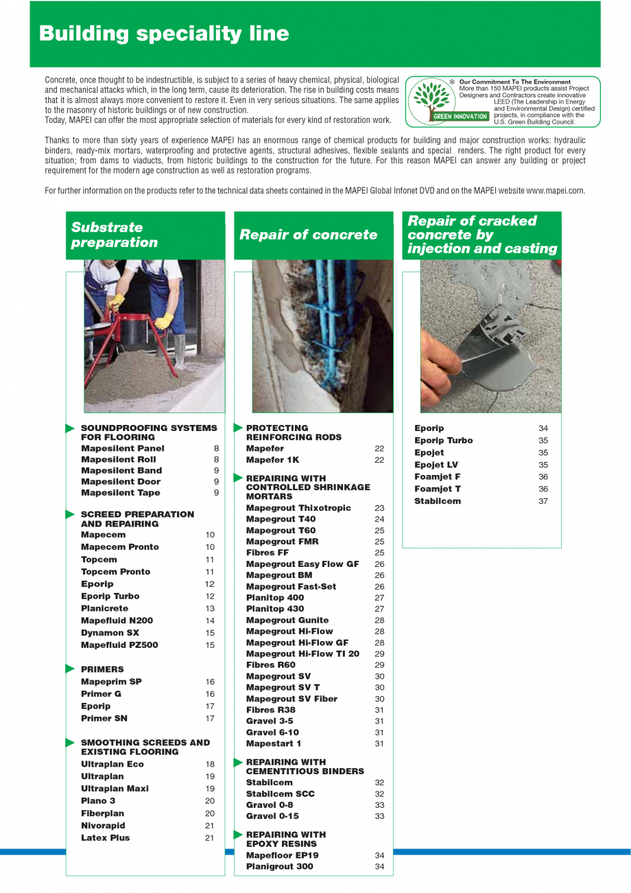 Pagina 2 - Catalog mortare, materiale speciale MAPEI Mapegrout Easy Flow GF, Mapegrout SV, Mapegrout...