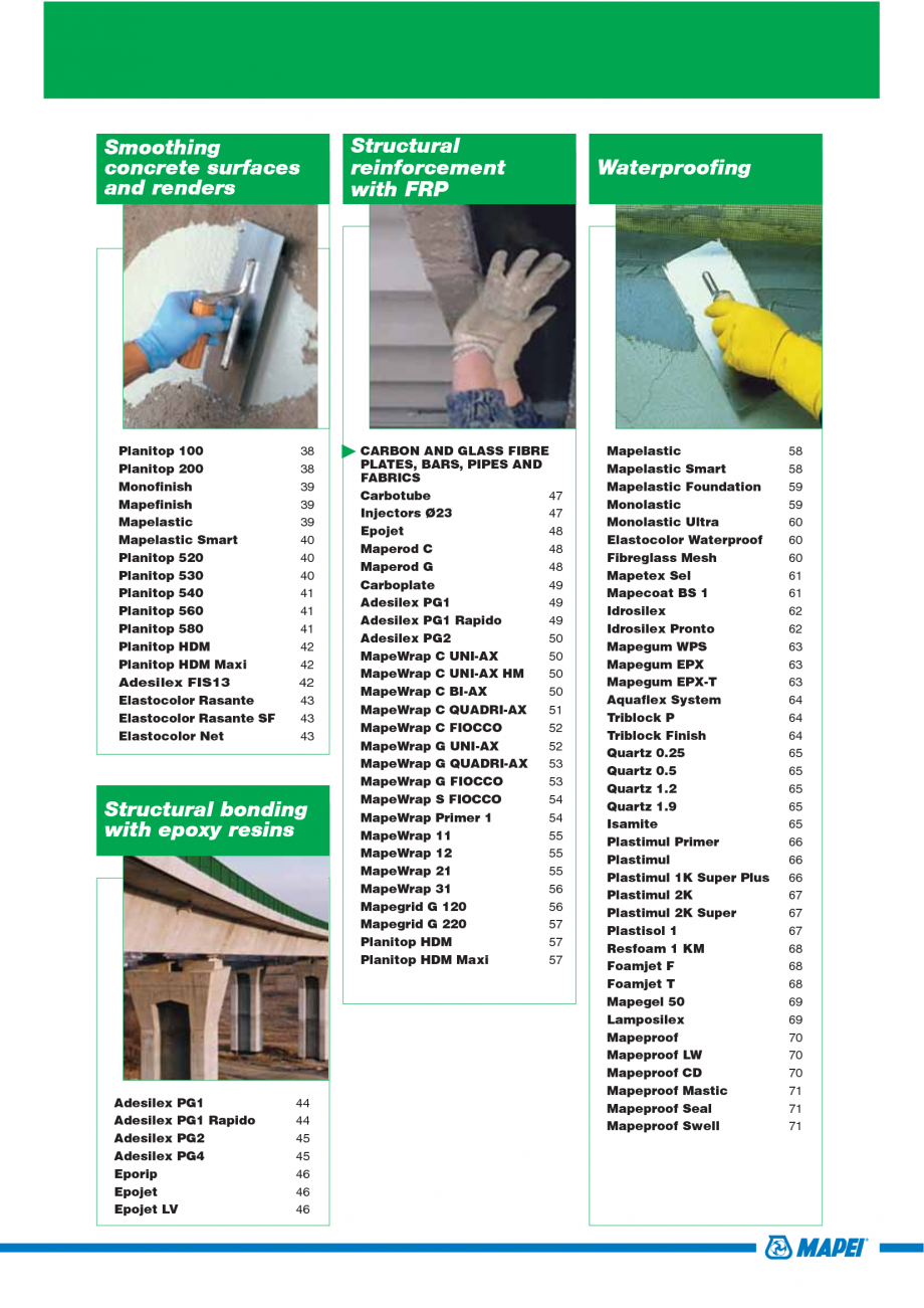 Pagina 3 - Catalog mortare, materiale speciale MAPEI Mapegrout Easy Flow GF, Mapegrout SV, Mapegrout...