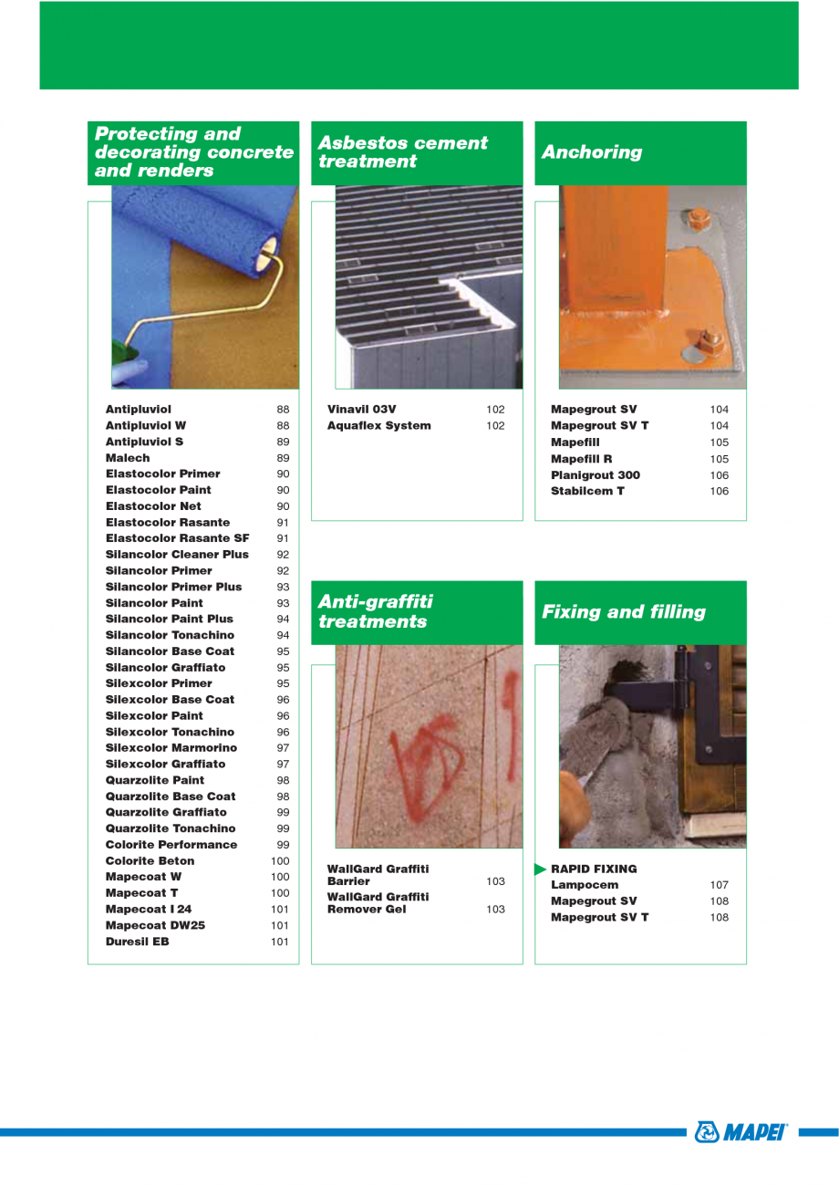 Pagina 5 - Catalog mortare, materiale speciale MAPEI Mapegrout Easy Flow GF, Mapegrout SV, Mapegrout...