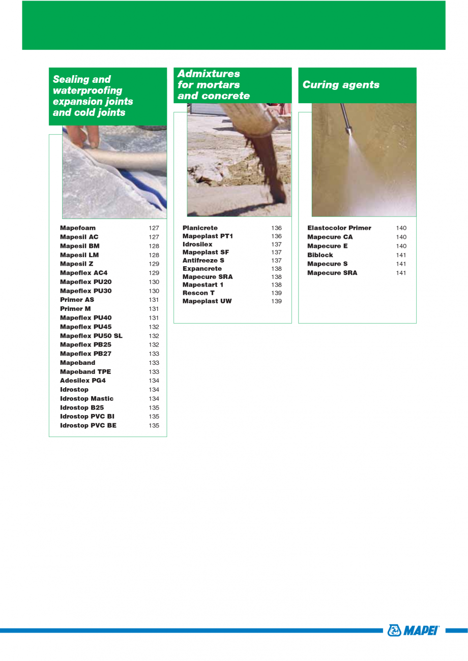 Pagina 7 - Catalog mortare, materiale speciale MAPEI Mapegrout Easy Flow GF, Mapegrout SV, Mapegrout...