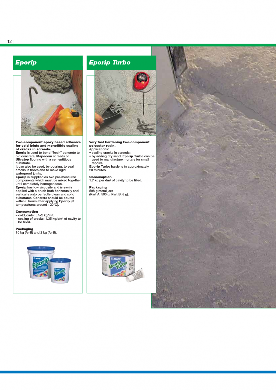 Pagina 14 - Catalog mortare, materiale speciale MAPEI Mapegrout Easy Flow GF, Mapegrout SV,...