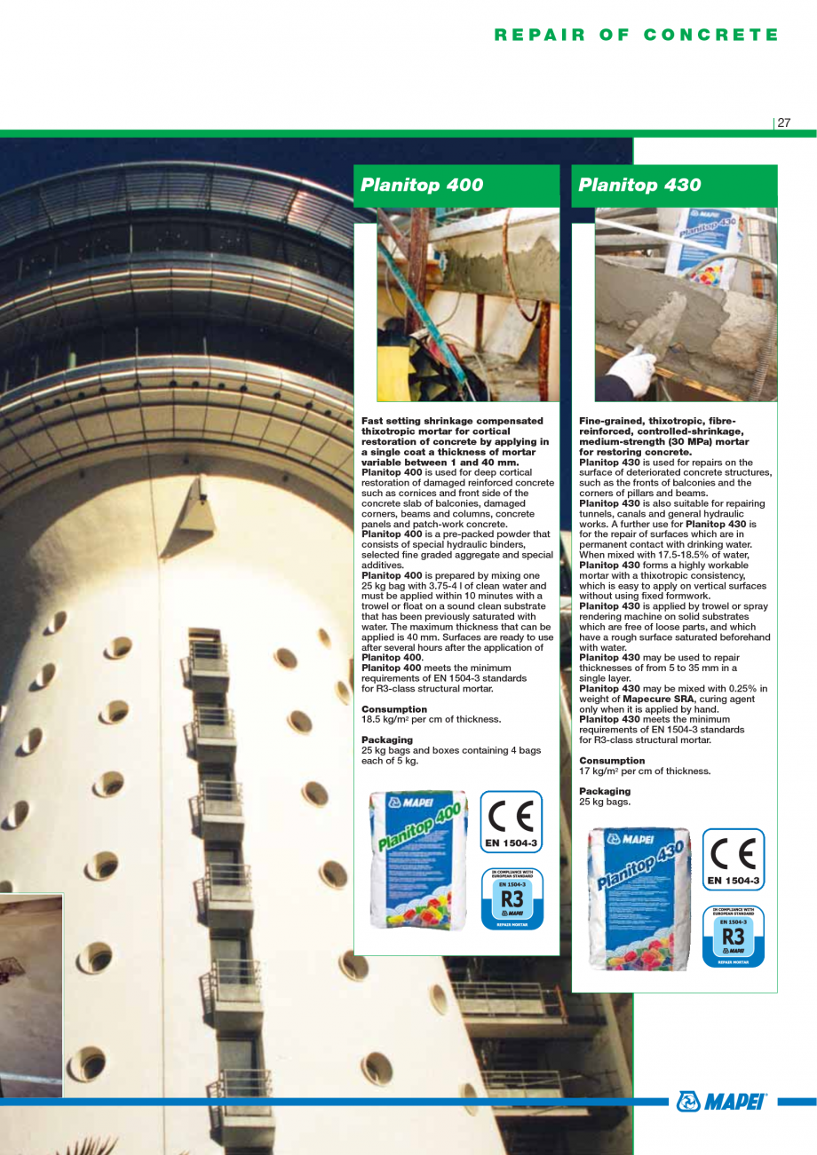 Pagina 29 - Catalog mortare, materiale speciale MAPEI Mapegrout Easy Flow GF, Mapegrout SV,...
