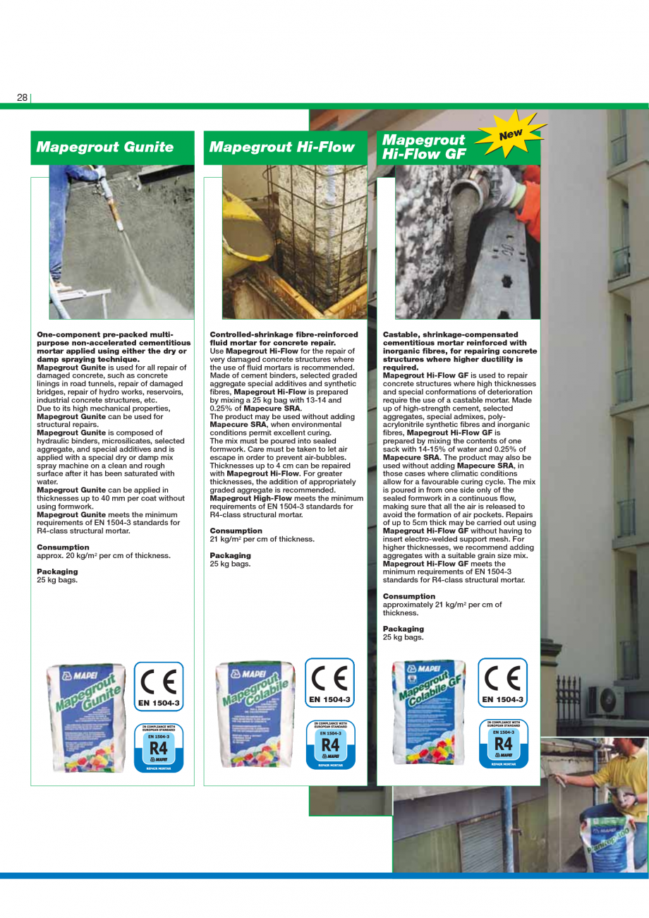 Pagina 30 - Catalog mortare, materiale speciale MAPEI Mapegrout Easy Flow GF, Mapegrout SV,...