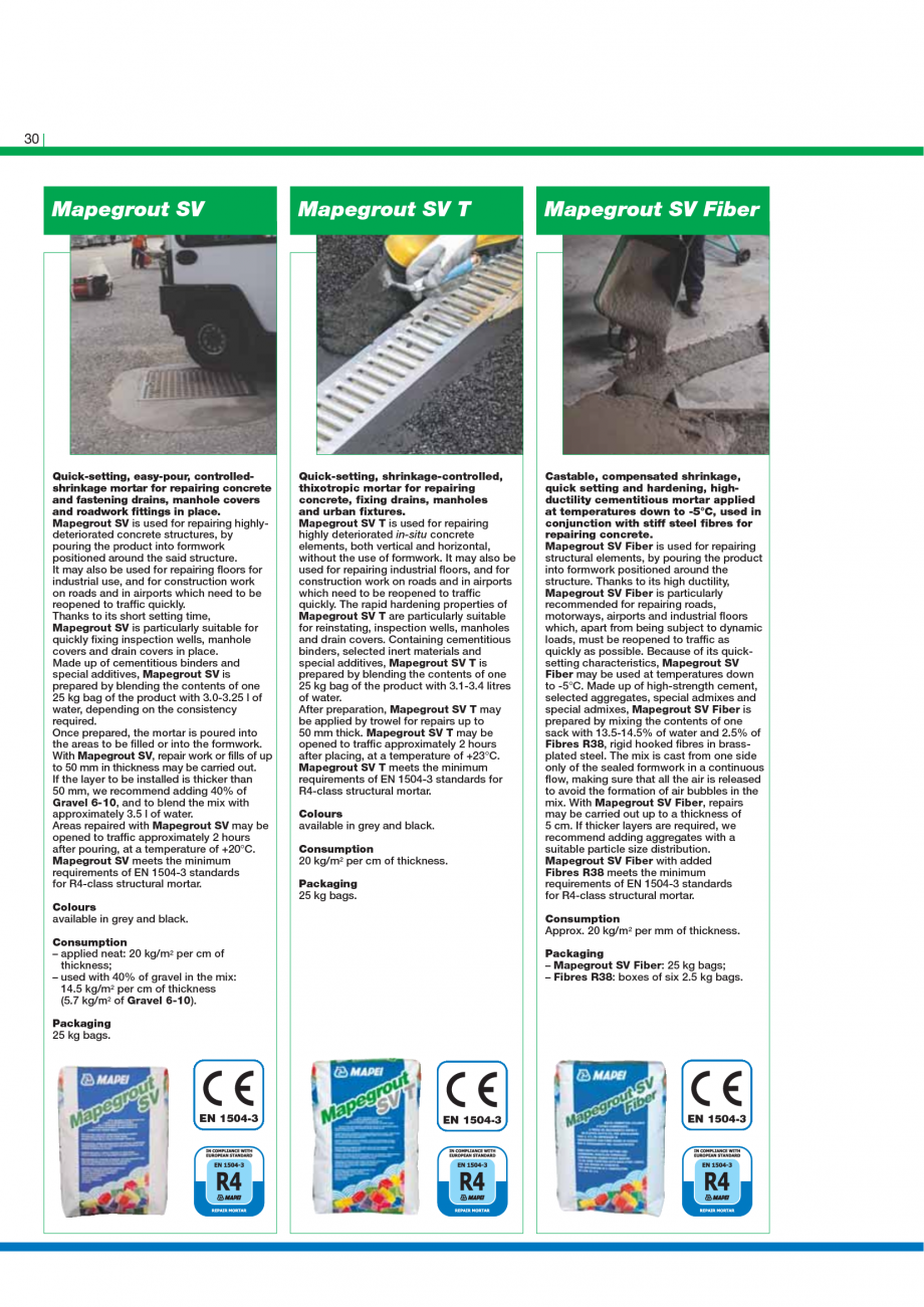 Pagina 32 - Catalog mortare, materiale speciale MAPEI Mapegrout Easy Flow GF, Mapegrout SV,...