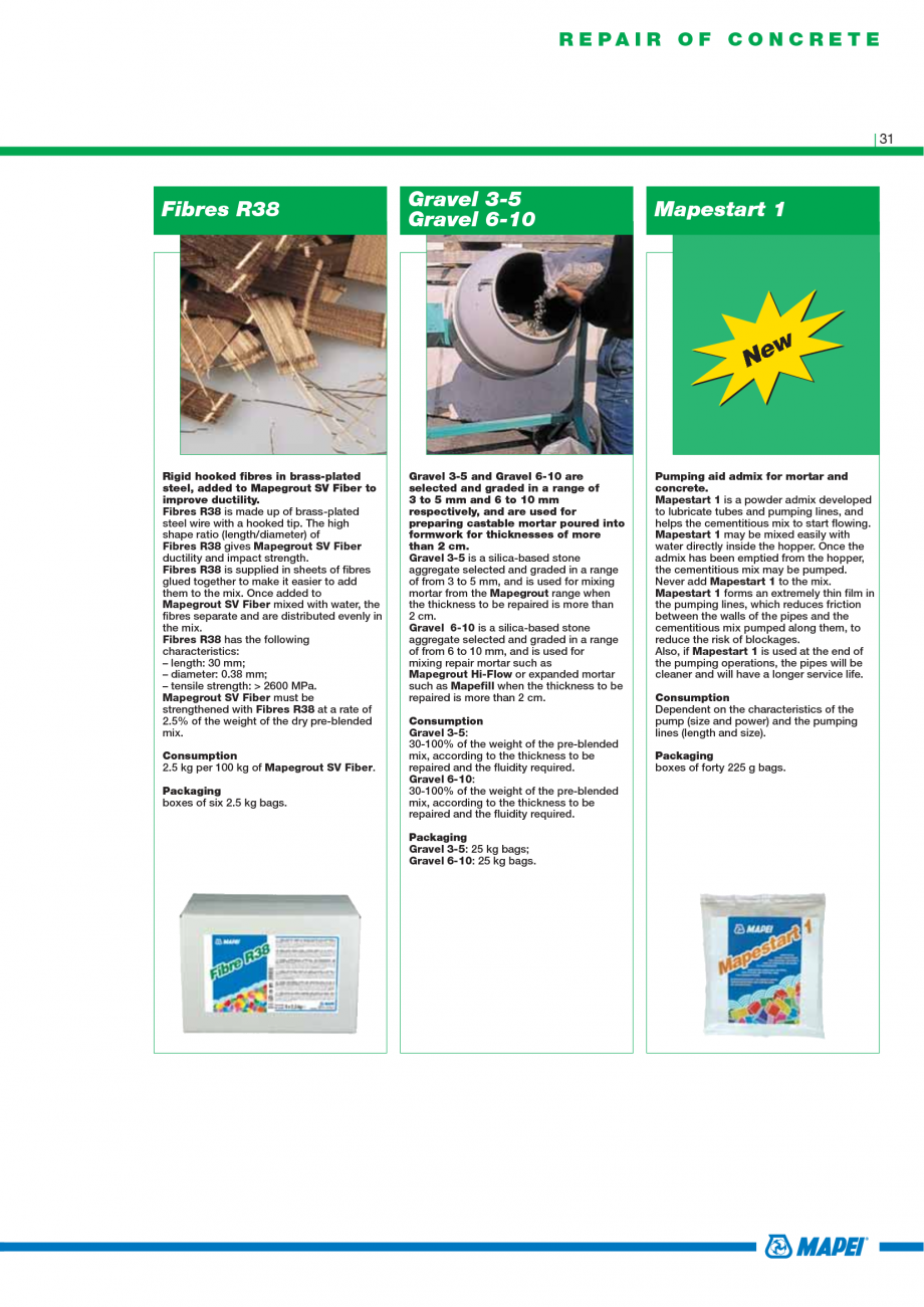 Pagina 33 - Catalog mortare, materiale speciale MAPEI Mapegrout Easy Flow GF, Mapegrout SV,...
