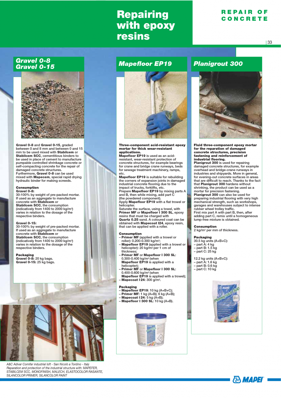 Pagina 35 - Catalog mortare, materiale speciale MAPEI Mapegrout Easy Flow GF, Mapegrout SV,...