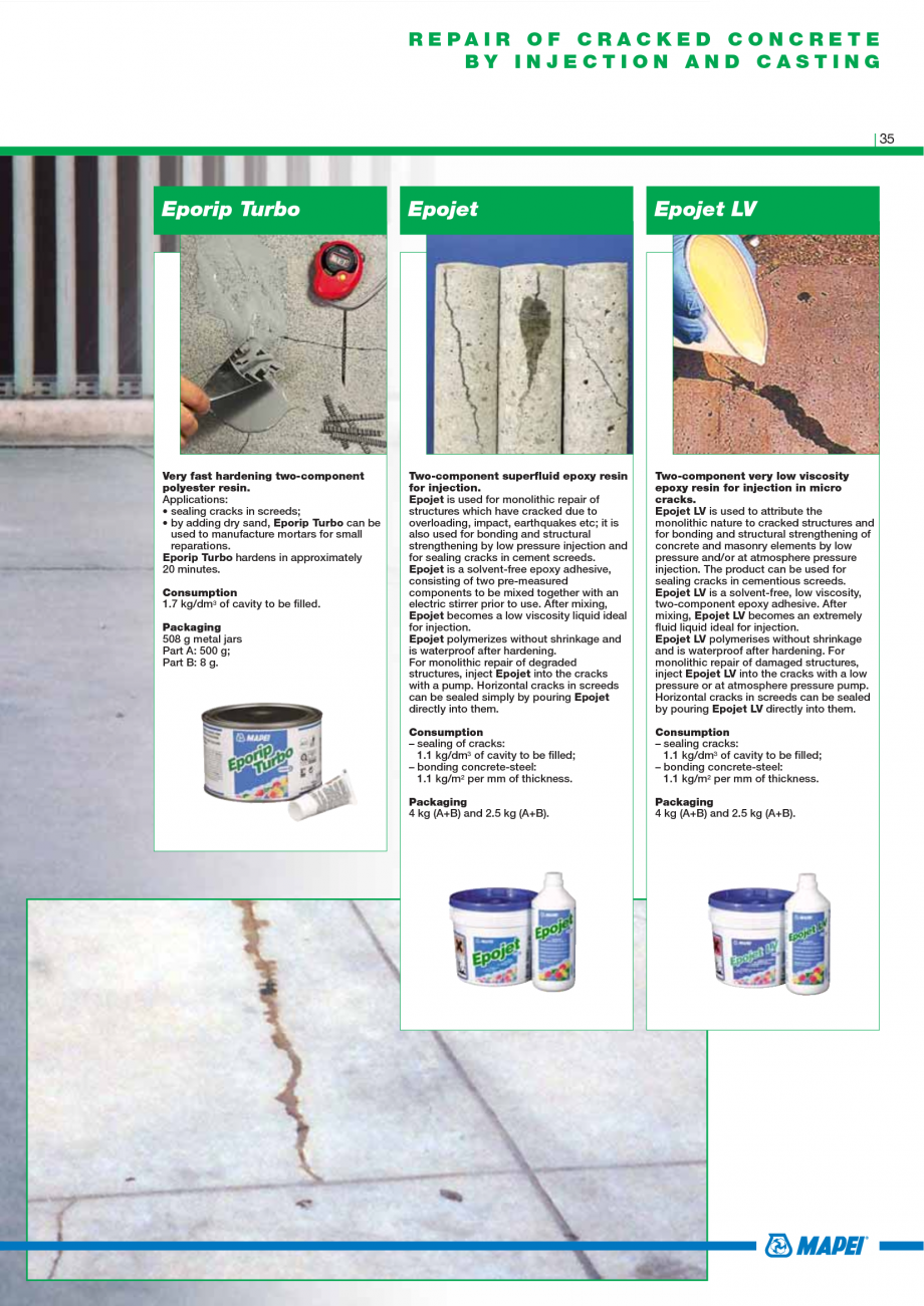 Pagina 37 - Catalog mortare, materiale speciale MAPEI Mapegrout Easy Flow GF, Mapegrout SV,...