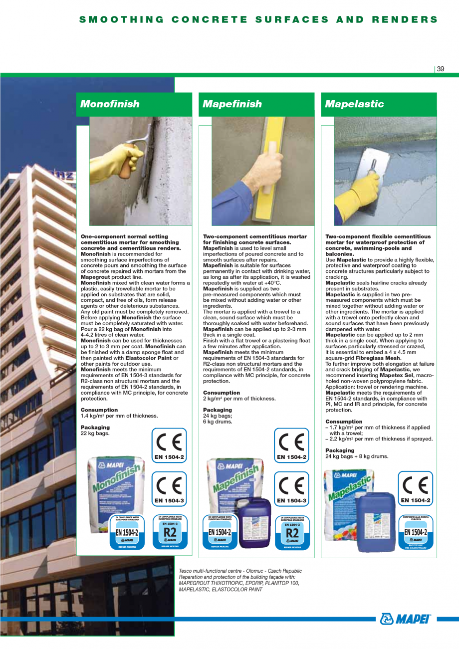 Pagina 41 - Catalog mortare, materiale speciale MAPEI Mapegrout Easy Flow GF, Mapegrout SV,...