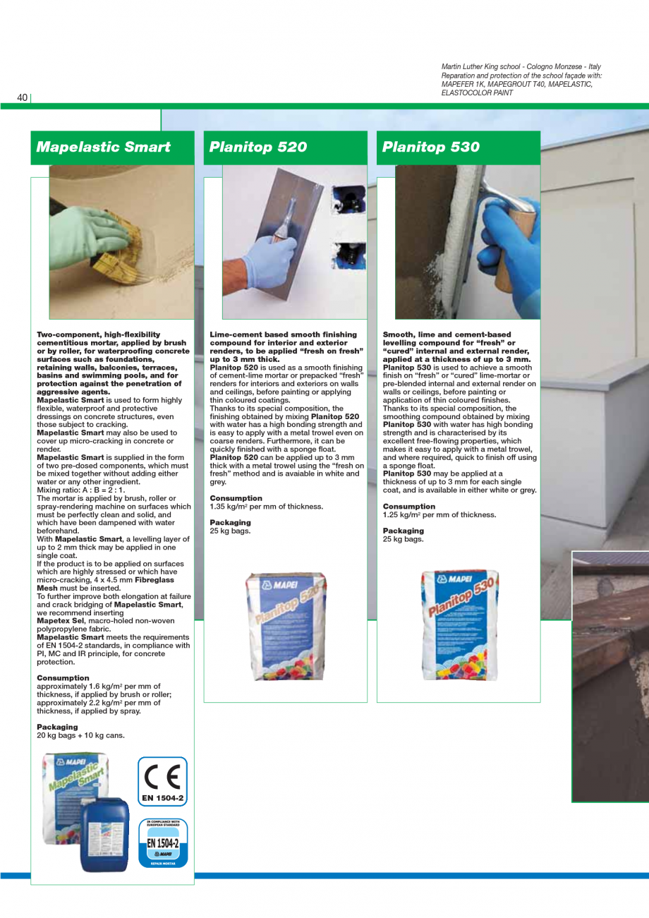 Pagina 42 - Catalog mortare, materiale speciale MAPEI Mapegrout Easy Flow GF, Mapegrout SV,...