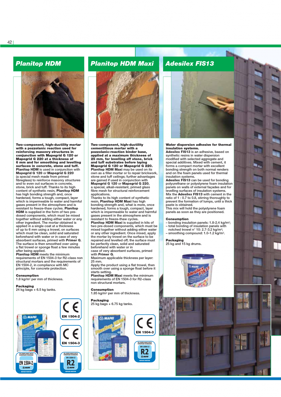 Pagina 44 - Catalog mortare, materiale speciale MAPEI Mapegrout Easy Flow GF, Mapegrout SV,...