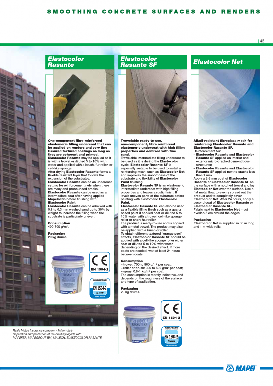 Pagina 45 - Catalog mortare, materiale speciale MAPEI Mapegrout Easy Flow GF, Mapegrout SV,...
