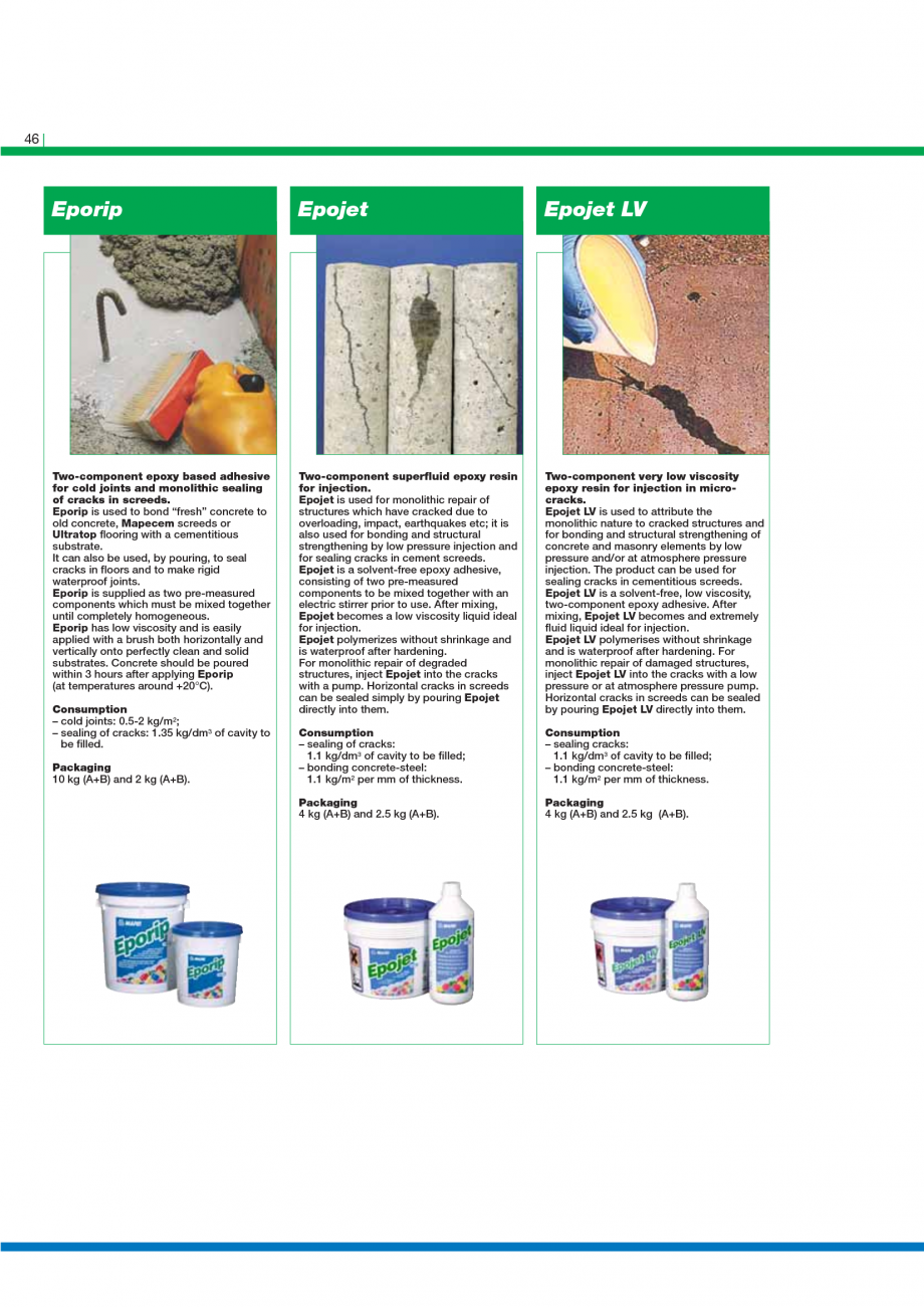 Pagina 48 - Catalog mortare, materiale speciale MAPEI Mapegrout Easy Flow GF, Mapegrout SV,...