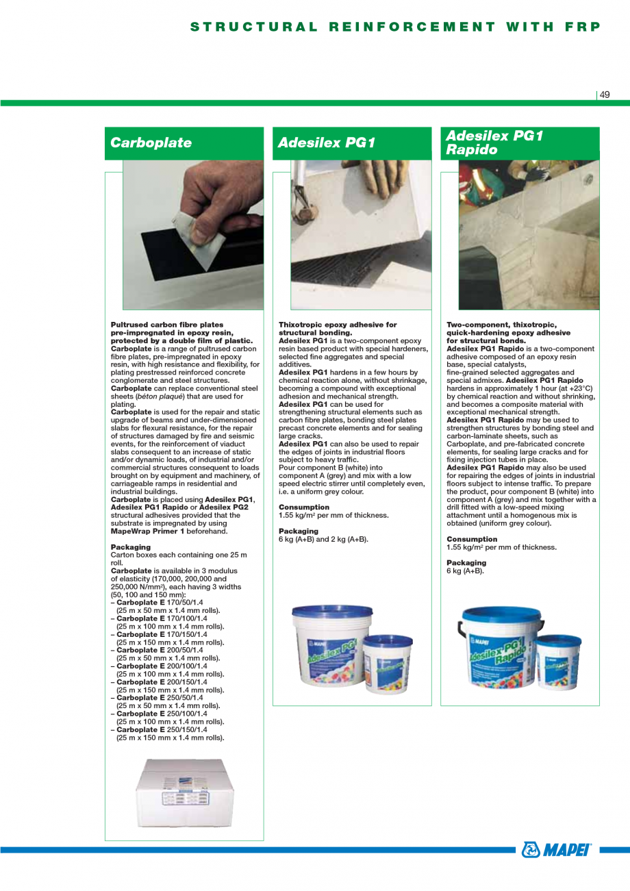 Pagina 51 - Catalog mortare, materiale speciale MAPEI Mapegrout Easy Flow GF, Mapegrout SV,...
