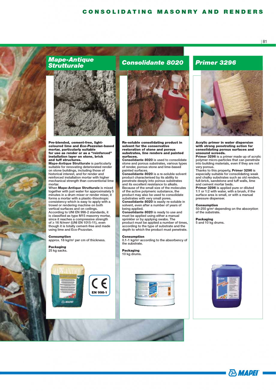 Pagina 83 - Catalog mortare, materiale speciale MAPEI Mapegrout Easy Flow GF, Mapegrout SV,...