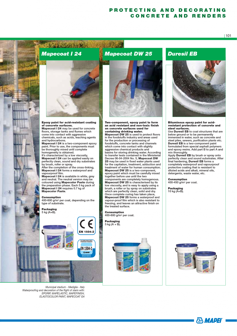 Pagina 103 - Catalog mortare, materiale speciale MAPEI Mapegrout Easy Flow GF, Mapegrout SV,...