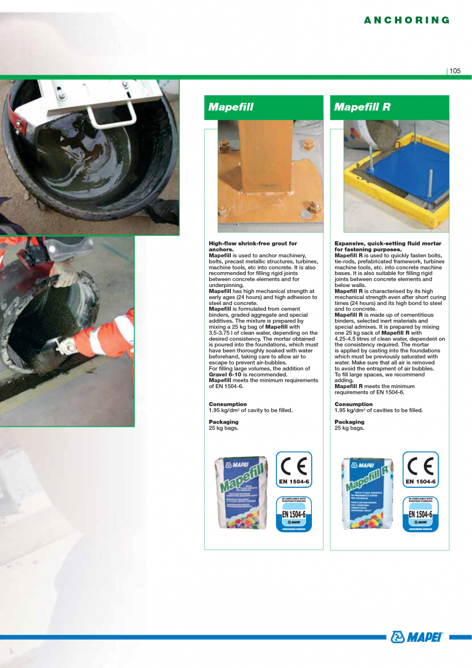 Pagina 107 - Catalog mortare, materiale speciale MAPEI Mapegrout Easy Flow GF, Mapegrout SV,...