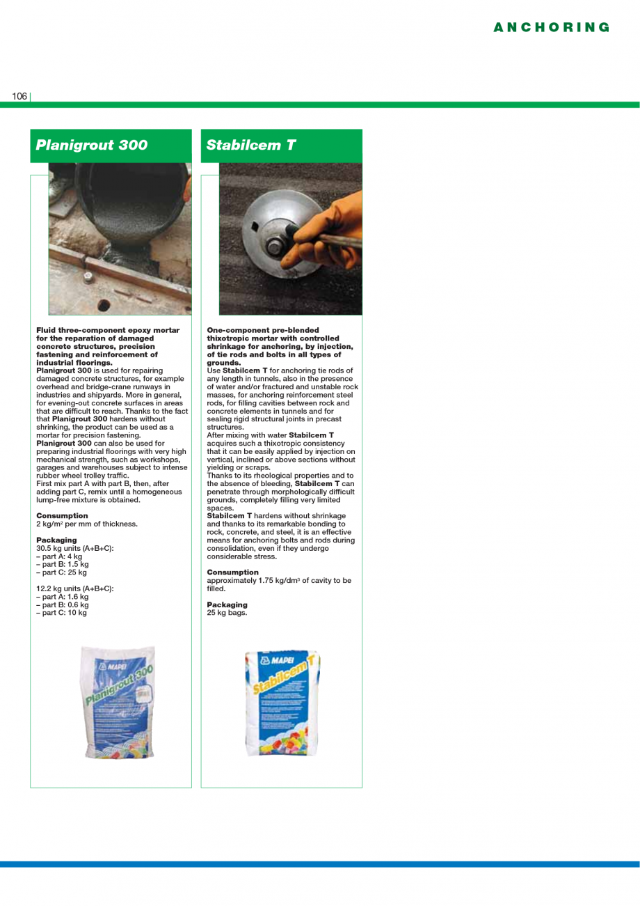 Pagina 108 - Catalog mortare, materiale speciale MAPEI Mapegrout Easy Flow GF, Mapegrout SV,...