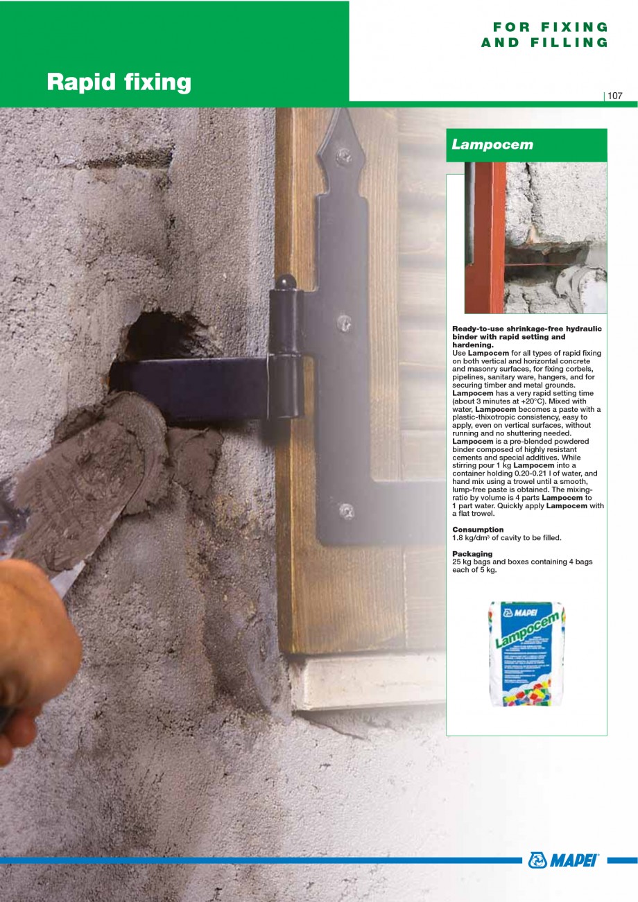 Pagina 109 - Catalog mortare, materiale speciale MAPEI Mapegrout Easy Flow GF, Mapegrout SV,...
