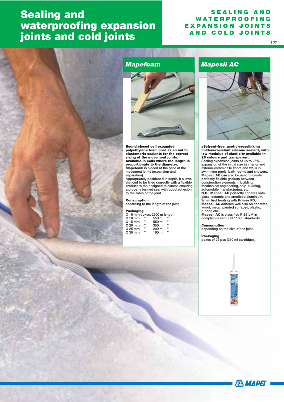 Pagina 129 - Catalog mortare, materiale speciale MAPEI Mapegrout Easy Flow GF, Mapegrout SV,...