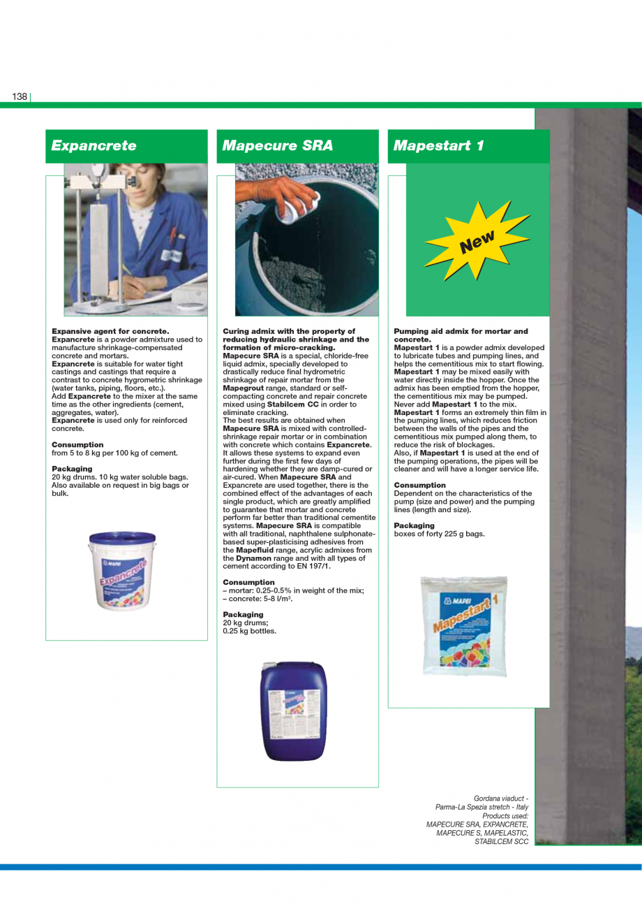 Pagina 140 - Catalog mortare, materiale speciale MAPEI Mapegrout Easy Flow GF, Mapegrout SV,...