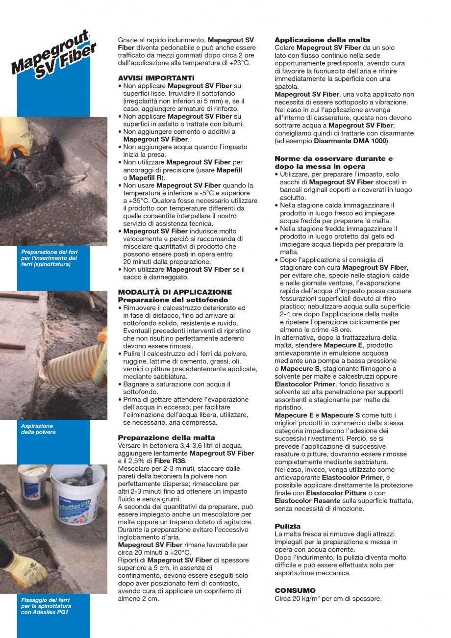 Pagina 2 - Mortar monocomponent, cu contractie controlata, cu priza si intarire rapida MAPEI...